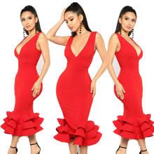 bc147e92c Moda Hot Mulheres Sereia Vestido De Noite Longo Com Decote Em V Sexy  Vestidos de Baile Vermelho