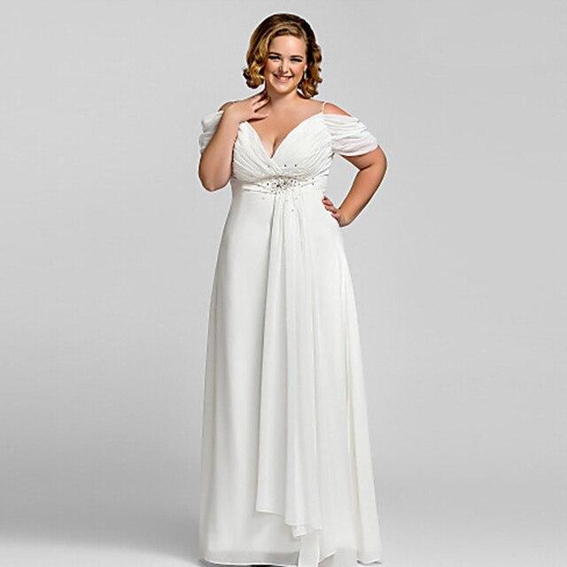 c1a5d9cfd Wow الزفاف البهية الابيض زائد الحجم فساتين السهرة 2015 الشيفون الطابق طول  أم فستان العروس
