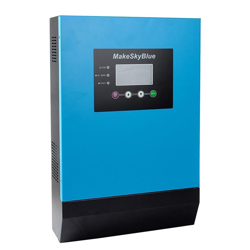 MakeSkyBlue 2KVA 3KVA hybride MPPT onduleur solaire 12V 24V 36V 48V DC à 120V AC MPPT onduleur avec écran LCD