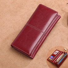 New ladies long leather wallet European and American vintage oil wax multi-card Large capacity lock clutch