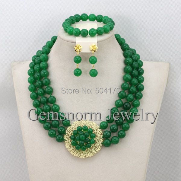 Gorgeous Nigerian Green Jade African Beads Jewelry Set Latest Design Brides Gift Jewelry Set New Free Shipping GS841