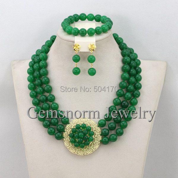 Gorgeous Nigeriano Beads Africanos de La Joyería de Jade Verde Último Diseño GS841 Novias Regalo de Joyería Conjunto Nuevo Envío Libre