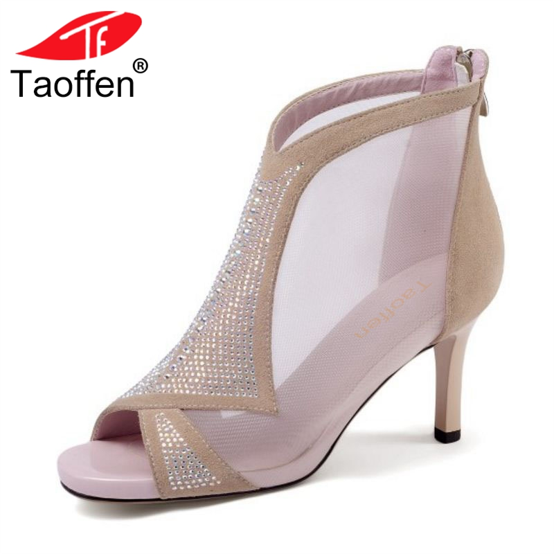 TAOFFEN Women High Heel Sandals Peep Toe Zipper Shine Real Leather Women Sandals Sexy Mature Shoes Wedding Footwear Size 34-39 taoffen women high heels sandals real leather peep toe shoes women buckle clear thick heel sandals daily footwear size 34 39