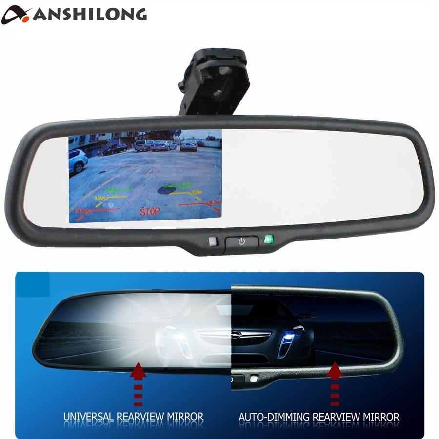 ANSHILONG OEM Auto Gradation Rétroviseur avec 4.3 pouce 800*480 Résolution TFT LCD De Voiture Moniteur Intégré dans Support spécial