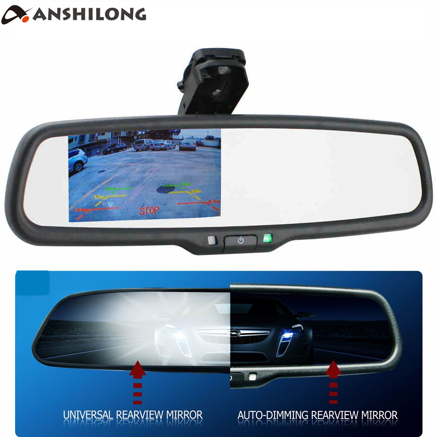 ANSHILONG OEM Auto Dimming Rear View Mirror with 4.3 inch 800*480 Resolution TFT LCD Car Monitor Built in Special Bracket-in Car Monitors from Automobiles & Motorcycles    1