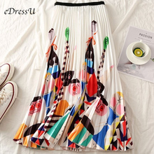 High Waist Pleated Midi Skirt Women Print Novelty Trendy Pleated Skirt Elastic Summer Autumn Skirt Casual Daily Wear LS-9831