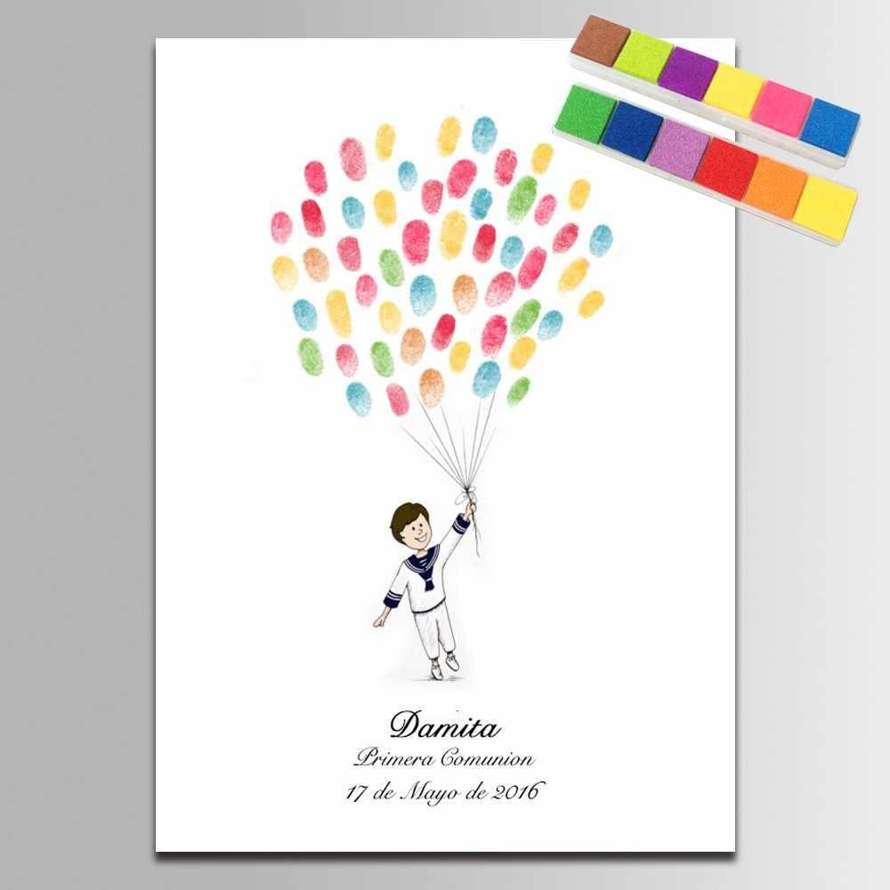 Гость книга Baby Shower Декор вывеска книга рисование на холсте руками для мальчиков подарки крещения на день рождения первого причастия