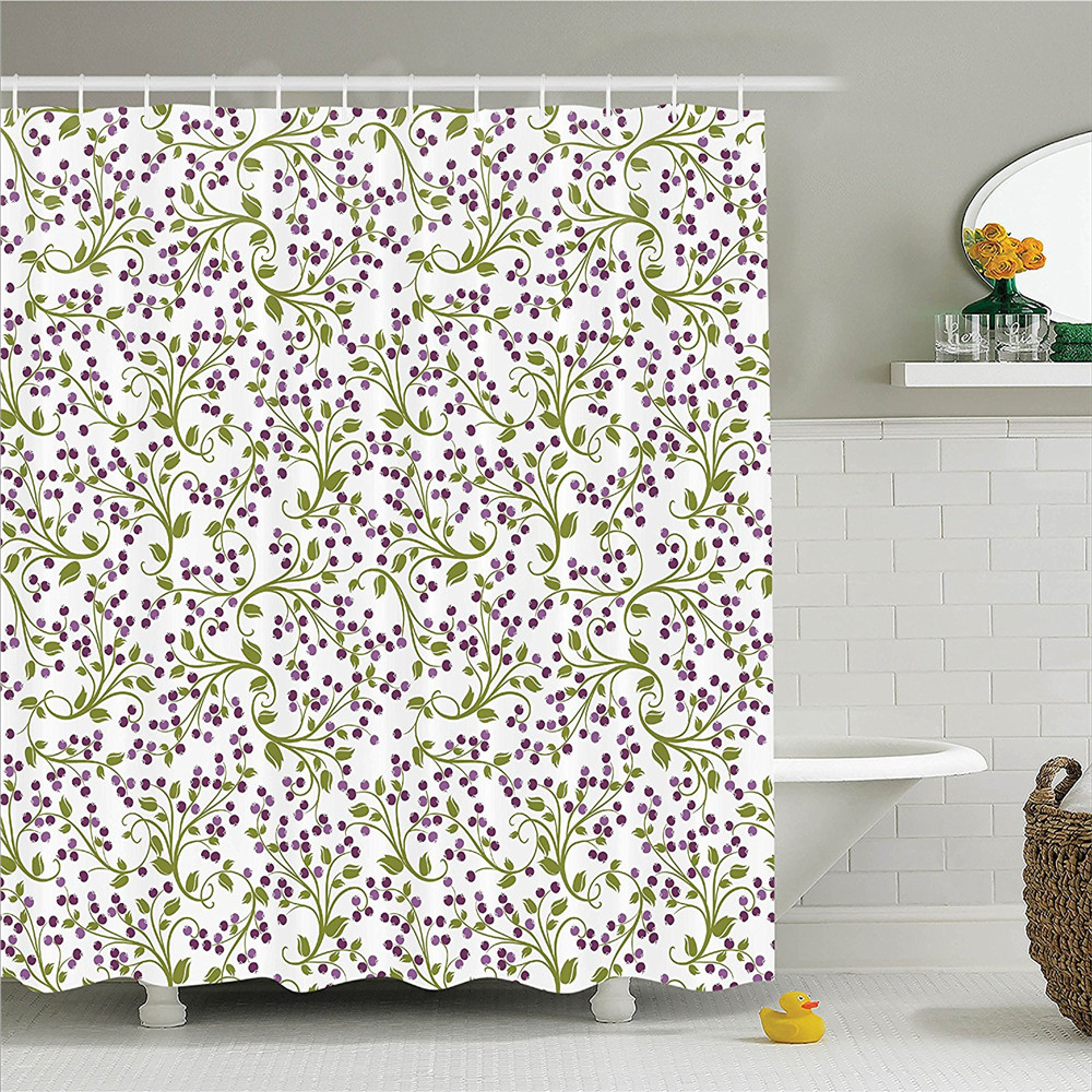 House Decor Shower Curtain Set Floral Pattern Of Wild Berries Ornamental Curvy Branches Foliage Fruits Botanic Bathroom Accessor