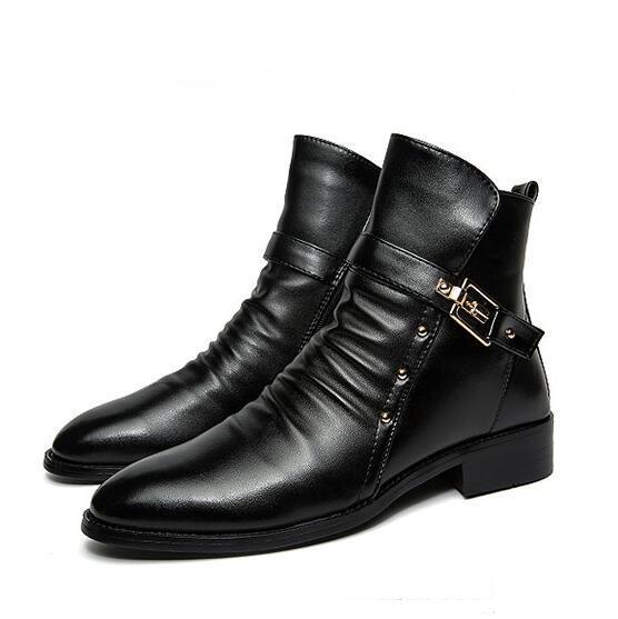 Homens da moda Tornozelo Do Dedo Do Pé Apontado Couro Rachado Da Motocicleta botas estilo Britânico sapatos Masculinos 2/5