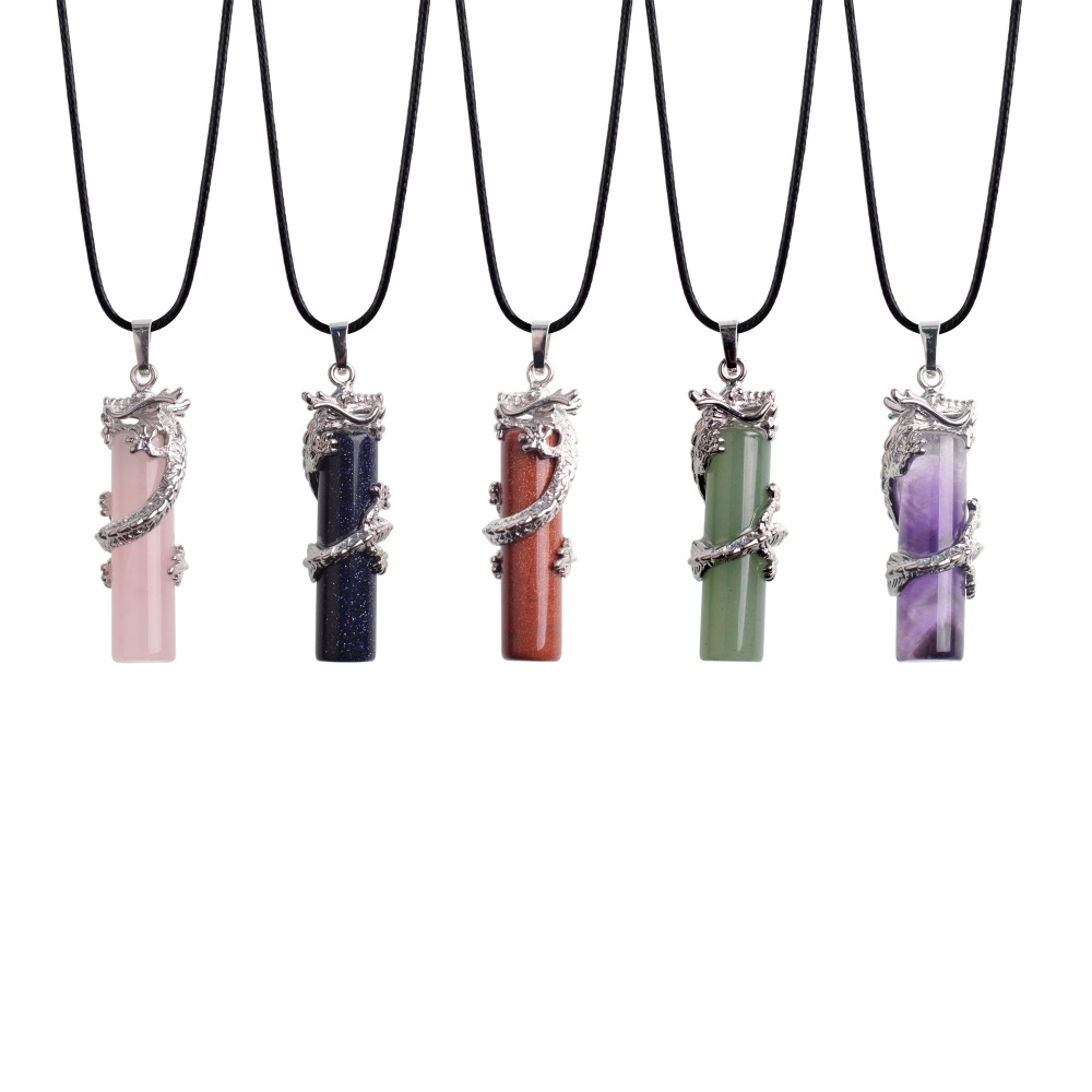National Natural Stone Necklace Pendant Round Charm Crystal Cylindrical Chinese Dragon Guardian Whistle for Women Jewelry Lol