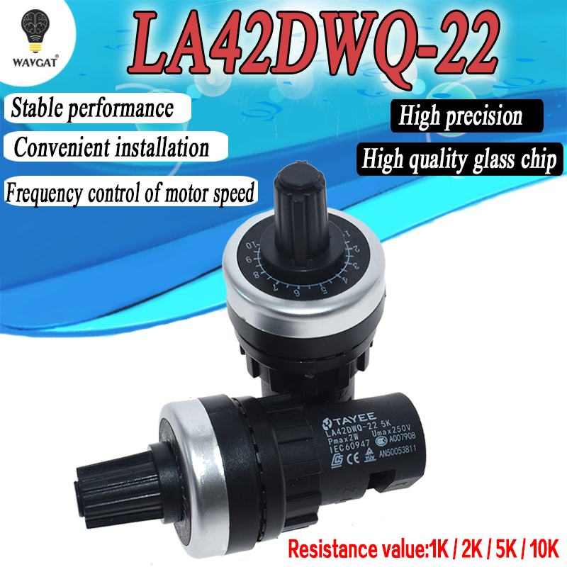 LA42DWQ-22 1K 2K <font><b>5K</b></font> 10K 22mm Diameter <font><b>Pots</b></font> Rotary Potentiometer Converter Governor Inverter Resistance Switch image