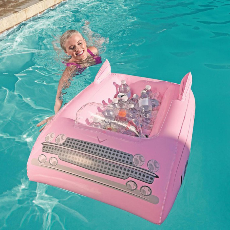 Barre de service gonflable rose voiture Buffet gonflable refroidisseur de glace boisson salade plateau nourriture porte-boissons fourniture de fête accessoires de piscine