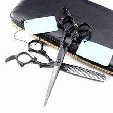 Profesional Japón 440c 5,5 6 pulgadas dragón negro pelo tijeras cortar peluquería makas corte de pelo adelgazamiento tijeras peluquería tijeras