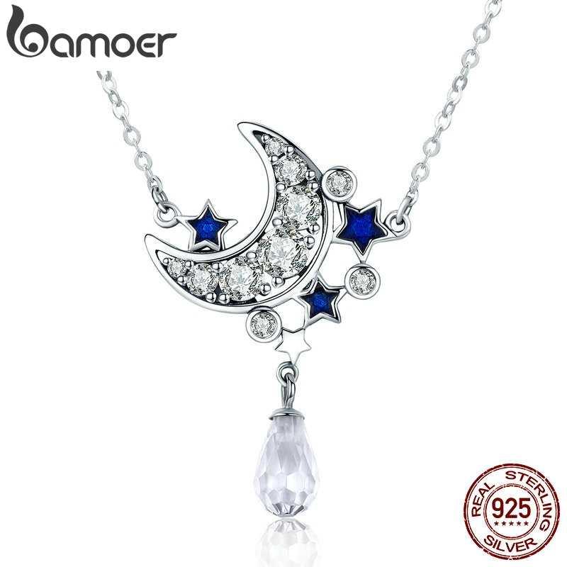 BAMOER Genuine 925 Sterling Silver Crescent Moon & Star Shimmering Crystal Pendant Necklaces for Women Fine Jewelry Gift SCN110