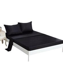 Luksusowy amerykański styl prześcieradło poszewka na poduszkę zestawy pościeli satyna jedwab 3/4 sztuk miękkie Twin królowa łóżko typu king size pościel