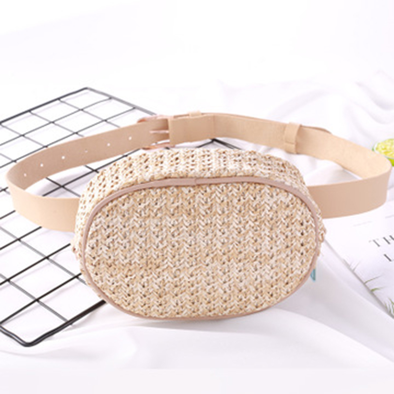Straw Women's Waist Bag Summer Fashion Female Fanny Pack Bum  Chest Bags Shoulder Crossbody Bag Beach Banana Belt Bags Hip Pouch