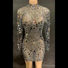 4e8e3617533 Paillettes argent brillant strass robe femmes anniversaire lumineux Sexy  tenue bal célébrer Bling miroirs robes danse Costume