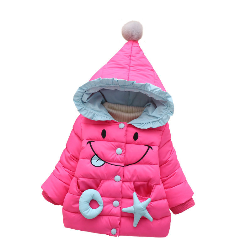 Baby infant Winter Cotton Coat Girls Candy Cute Smile Thick Down Outerwear Snow Wear Infant Hooded Jacket Outwear Clothing Y114
