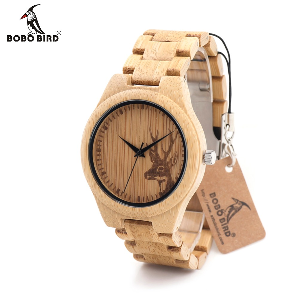 BOBOBIRD Natural Bamboo Wood Watches With Deer Head Engrave With Bamboo Strap Japanese 2035 Movement For