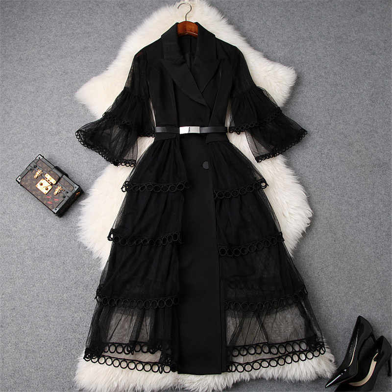 New Fashion Designer Spring Dress Women 2019 Elegant Flare Sleeve Notched Collar Mid Calf Tulle Dress Elegant Sexy Party Dresses