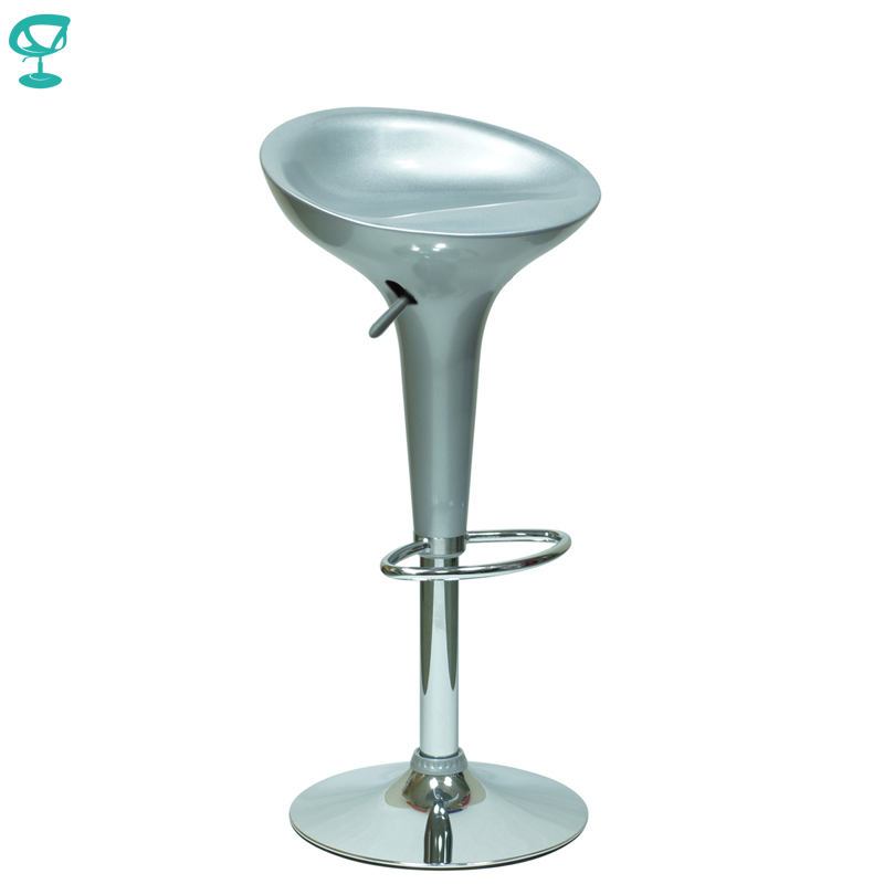 94386 Barneo N-100 Plastic High Kitchen Breakfast Bar Stool Swivel Bar Chair Silver Free Shipping In Russia