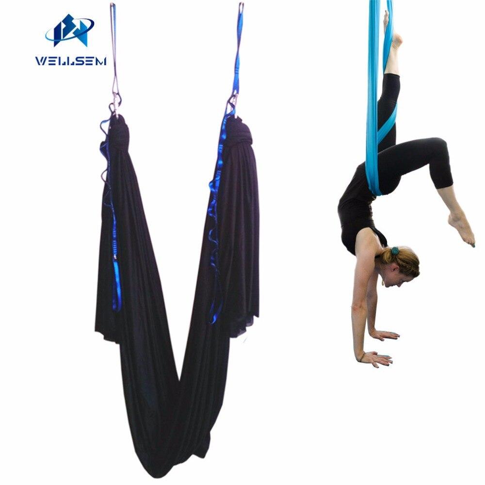 Black color 5m length set Deluxe Aerial Flying Anti gravity Yoga Hammock Swing Yoga body building