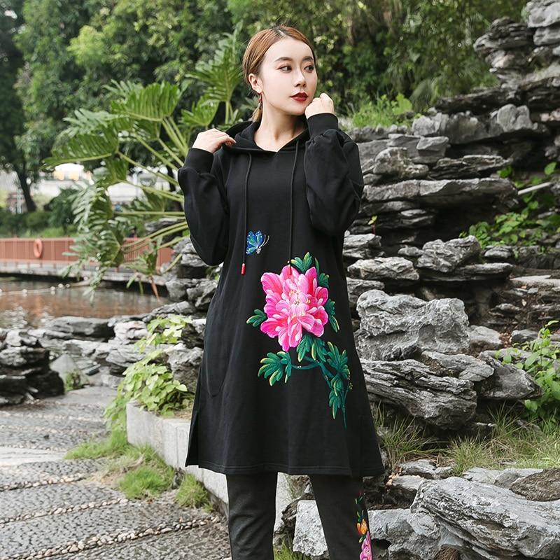 Hiver style chinois coton long sweat chaud épais polaire hoodies peint à la main femme pulls décontractés grande taille XL-XXXXXL