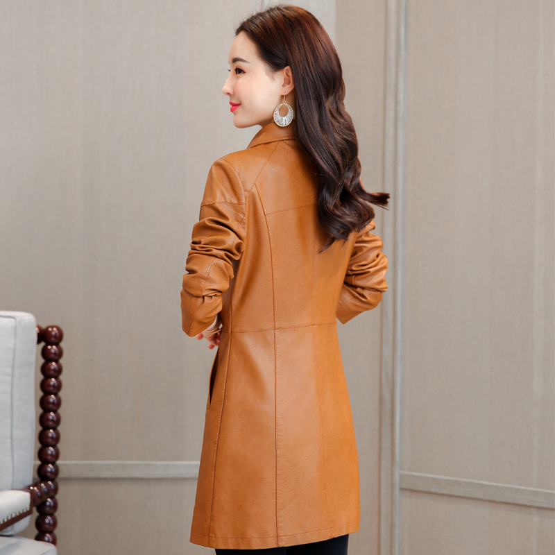 39c6cd3f18c1d 2018 Winter Women Jackets Soft Faux Leather Jacket Plus Size Single  Breasted Autumn PU Leather Coat Female Windbreakers M 4XL-in Leather    Suede from ...