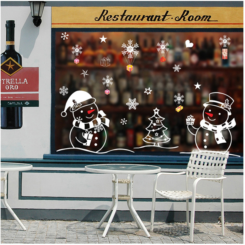 White Snowman Merry Christmas Decorations for Home New Year Living Room Glass Window Decorative Stickers Natal Navidad