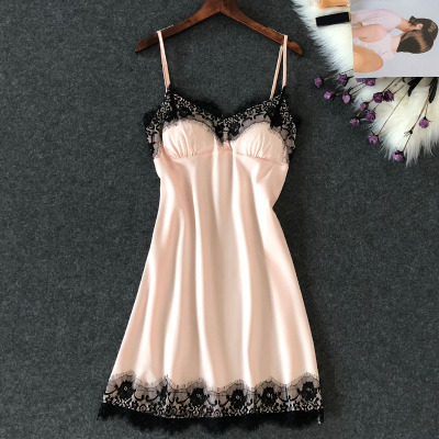 Women's Sexy Lingerie Silk Nightgown Summer Dress Lace Night Dress Sleepwear Babydoll Nightie Satin Homewear Chest Pad Nightwear 6