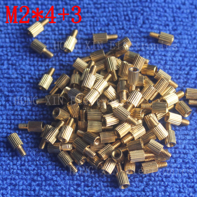 M2*4+3 1Pcs brass Standoff 4mm Spacer Standard Male-Female brass standoffs Metric Thread Column High Quality 1 piece sale m3x35mm 6mm male to female thread 0 5mm pitch brass hex standoff spacer 10pcs