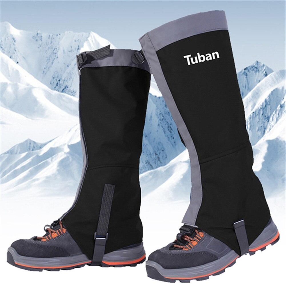 Ghette Da Neve Copre Sci Esterno impermeabile Scarpe Stivali Gamba Copre Uomini delle Donne Legging Nero