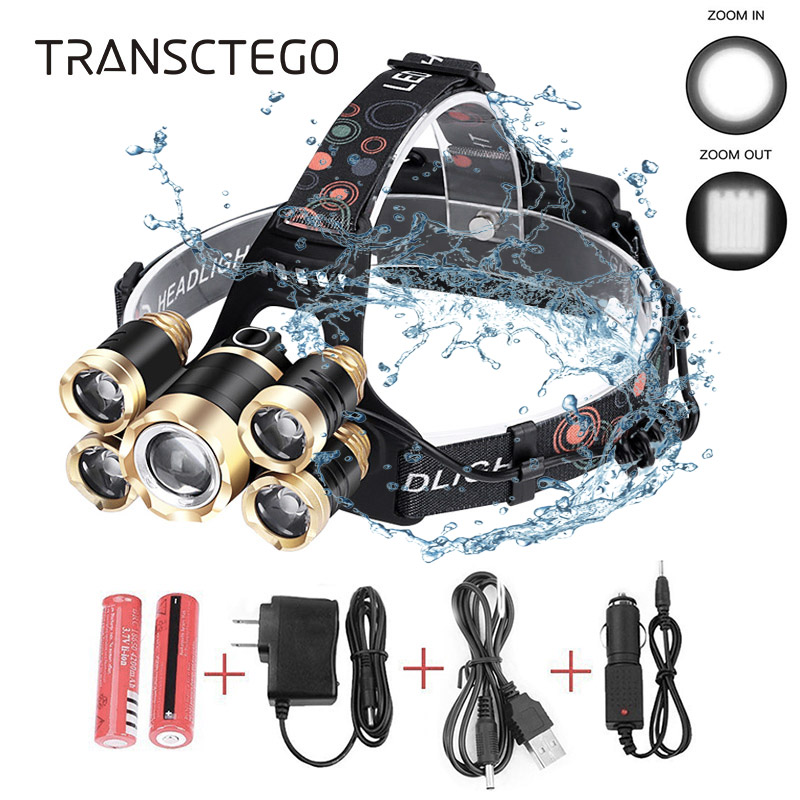 18000 Lumens Led Headlamp XM-L2 T6 Headlight Torch Rechargeable Zoomable Flashlight Waterproof Fishing Hunting 18650 Head Lamp