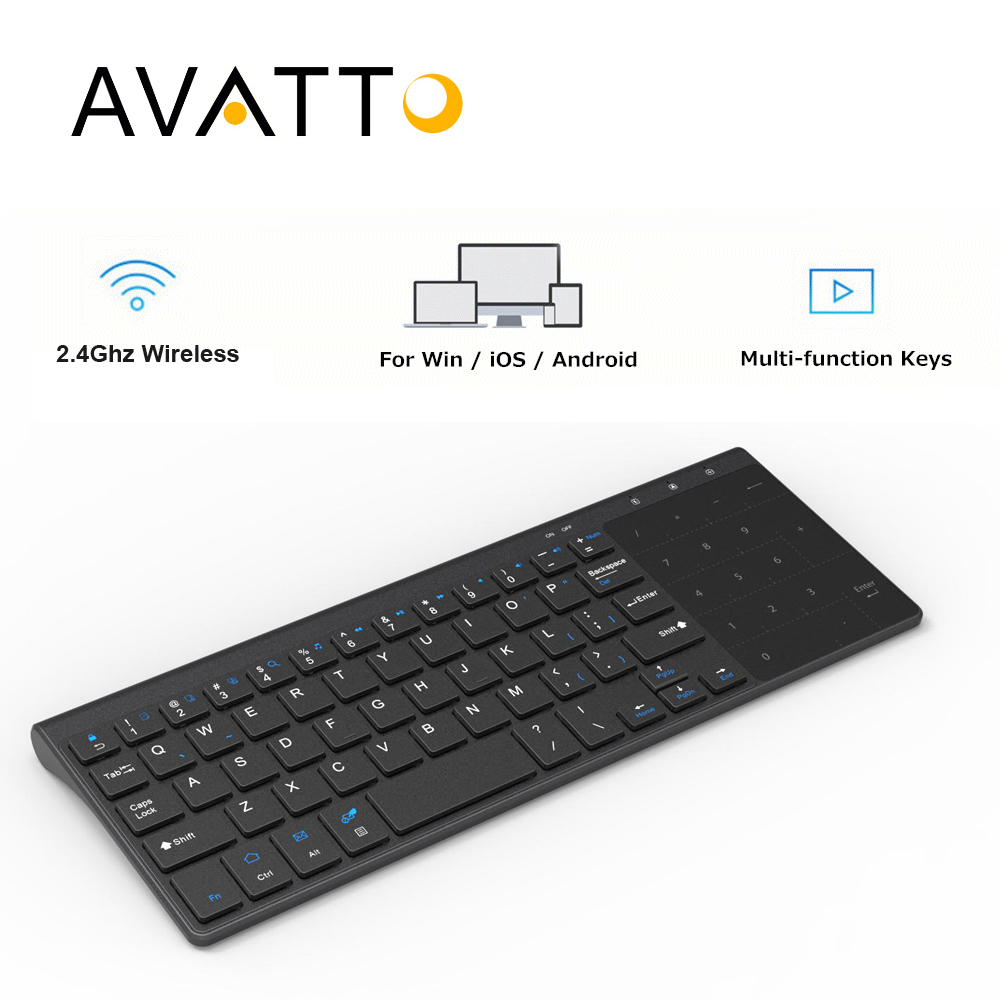 a5b622457b6 [AVATTO] T19 Ultra-fino 2.4G Teclado Multimídia Sem Fio com Número Touchpad  para Windows IOS Samsmg PC, Desktop, Laptop, ...