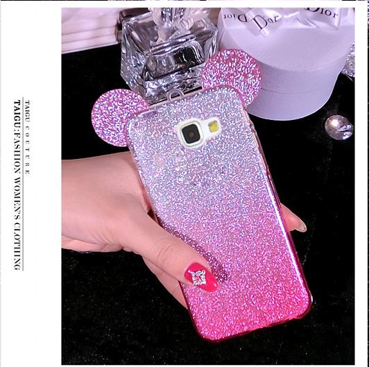 Nephy Glitter Minnie Caso Do Fone de Ouvido Para Samsung Galaxy A3 A5 J5 J7 2015 2016 2017 S5 S6 S7 S8 Capa Mais Bonito Mickey Capa Borda