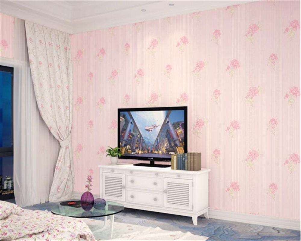 beibehang papel de parede Stereo Simple Pastoral Floral Nonwovens Wallpaper Warmer Bedroom Living Room Background Wall tapety in Wallpapers from Home Improvement