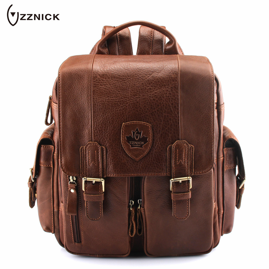 ZZNICK New Men Backpacks 100% Genuine Leather Men's Travel Bag Fashion Man Casual Backpack Leather Business Bag Male Backpack 2018 new travel luggage genuine leather men backpack string wear resisting man concise fashion pack student bag pr008134