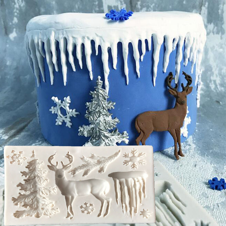 Christmas Tree Elk Snowflake Icicle Cake Molds Chocolate Moulds For The Baking Cake Tool DIY Sugarcraft Decoration Tool  H482