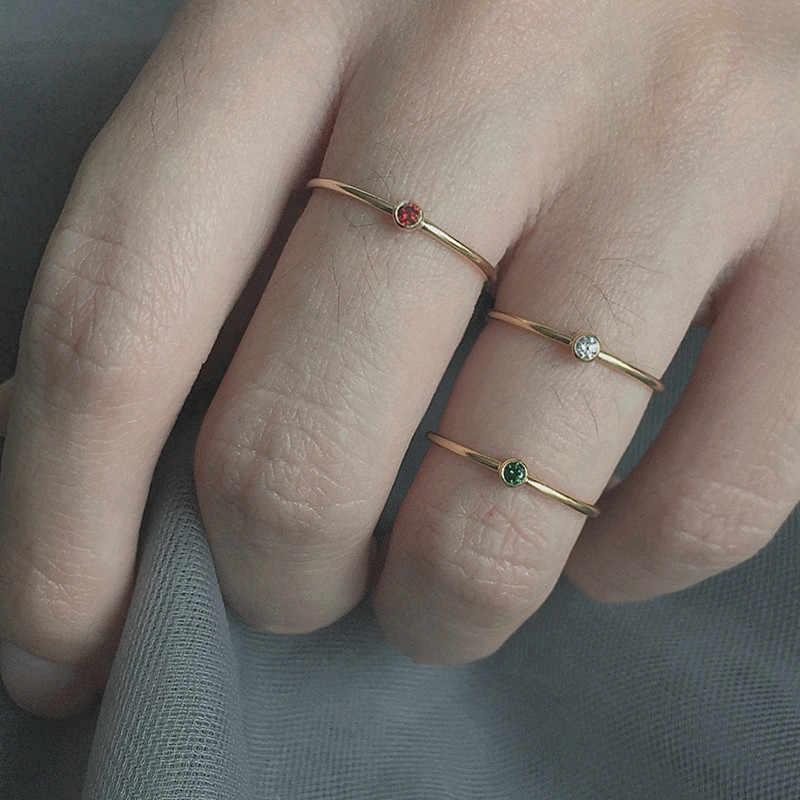 PINJEASทองfilliedมินิแฟลชเจาะสีดำ/ขาว/แดง/สีเขียวเพทายแหวนสำหรับผู้หญิงเครื่องประดับ