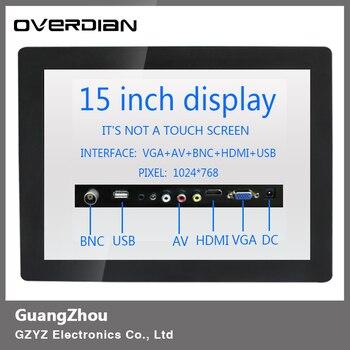 "15/15"" Industrial Control LCD Monitor/Display VGA/HDMI/AV/BNC/USB Interface 1024*768 Non-Touch Screen Metal Shell 4:3"