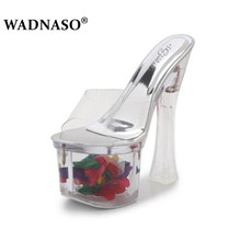 WADNASO Women Sexy Crystal Slipper Heels 17cm Transparent Cool High Heel Slippers Big yards Females Wedding Shoe Size 34-43