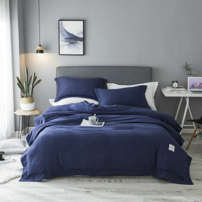 2018New Bedding Sets Simple Color Lake Blue Striped Bed Sheet Duver Quilt Cover Pillowcase Soft Silver Gray King Queen Full Twin