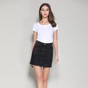 Image 2 - Streetwear קו ינס חצאית אביב קיץ 2020 נשים חדש כחול שחור כיסים גבוהה מותן מיני ג ינס חצאית באיכות גבוהה חצאיות