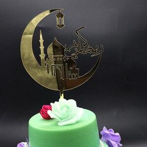 Image 3 - Nowy Ramadan akrylowy Topper do ciasta Eid Mubarak złoty Cupcake Topper do Hajj Mubarak ciasto dekoracje muzułmańskie Eid pieczenia Baby Shower