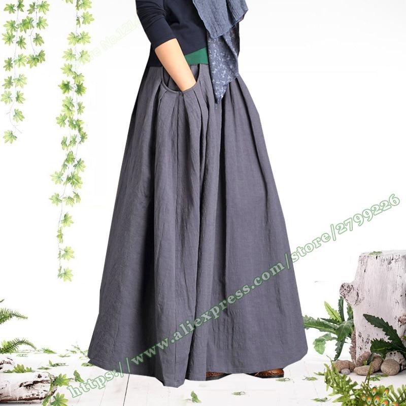 2018 Plus Size 4XL 5XL XXXXXL Vintage Fashion Casual Pleated Gray Cotton and Linen Big Pocket
