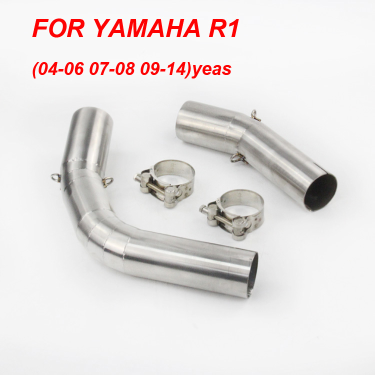 Slip On For YZF-R1 Motorcycle Exhaust Pipe Escape Moto Muffler Middle Tube Link Pipe For Yamaha R1 YZF 2004-06 07-08 09-14 years 38mm 52m motorcycle muffler exhaust pipe escape moto escapamento de for honda mxs125