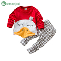 Kids clothes fashion Cartoon duck T-shirt + Polka Dot pant 2pc Girls Clothing Sets long sleeve Children boys clothing Suits set