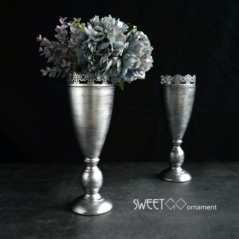 Sweetgo European Vintage Silver Vases Home Decor 33 11cm Party Supplier Dried Flower Vase Suit