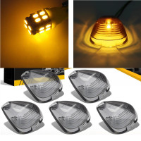5 Roof Running Light Cab Marker Smoke Cover Amber LED Bulb Top Lamp Lens For Ford
