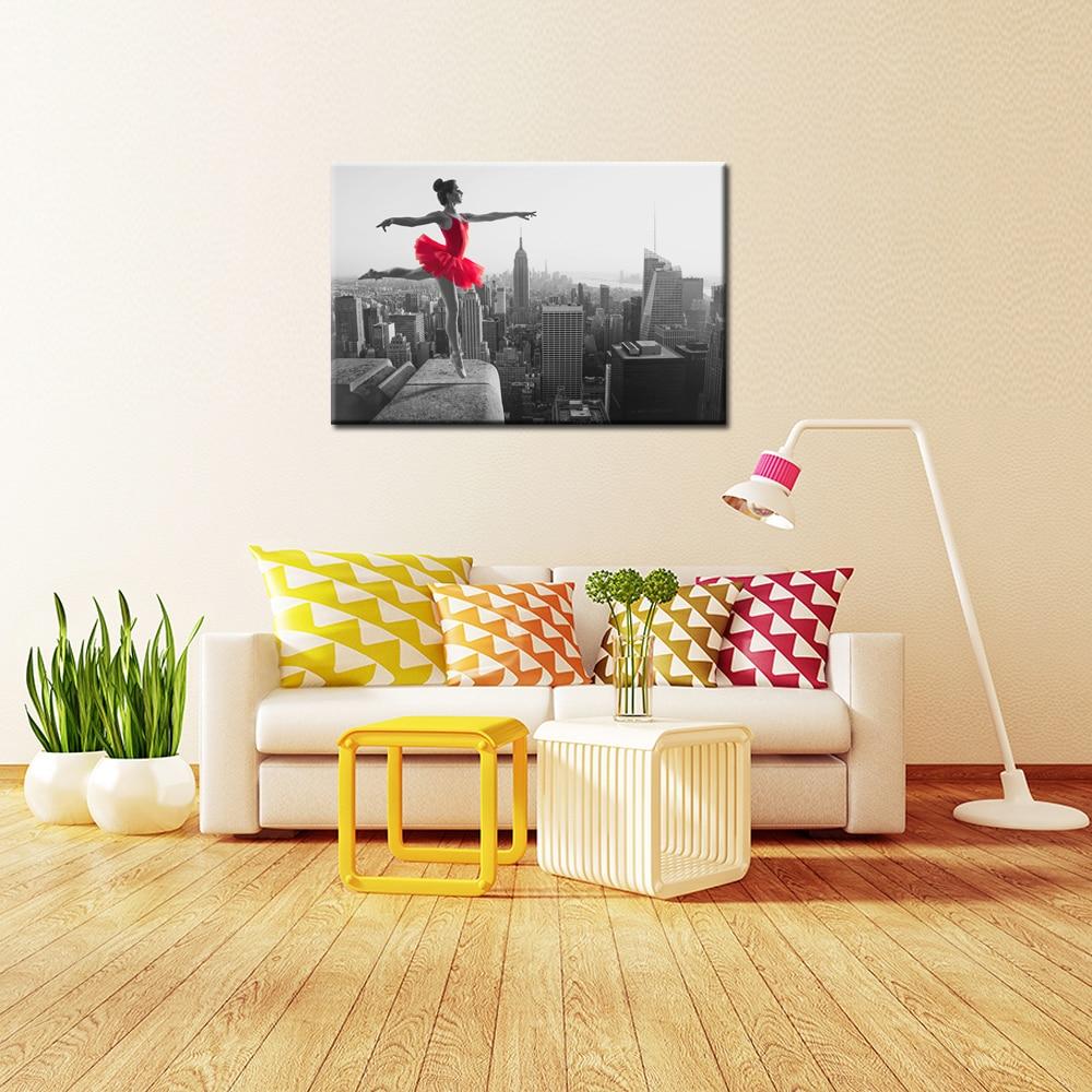 Women Canvas Painting Print Ballet Dancer Dancing Empire State ...